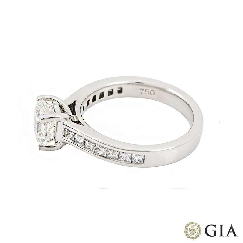 18k White Gold Asscher Cut Diamond Ring 1.20ct H/VS1